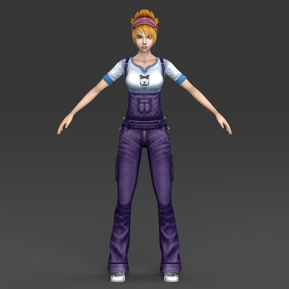 Low Poly Cartoon Girl - 3DOcean Item for Sale