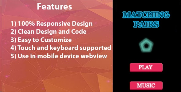 Matching Pairs - HTML5 Game - CodeCanyon Item for Sale
