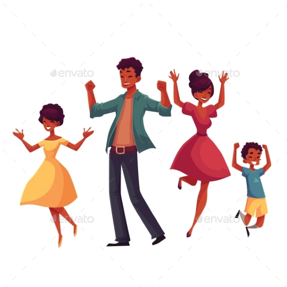 Cheerful Cartoon Style Family Jumping - People Characters