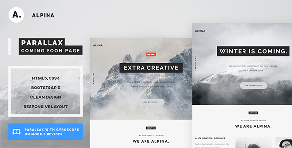 Alpina – 3D Parallax Coming Soon Template