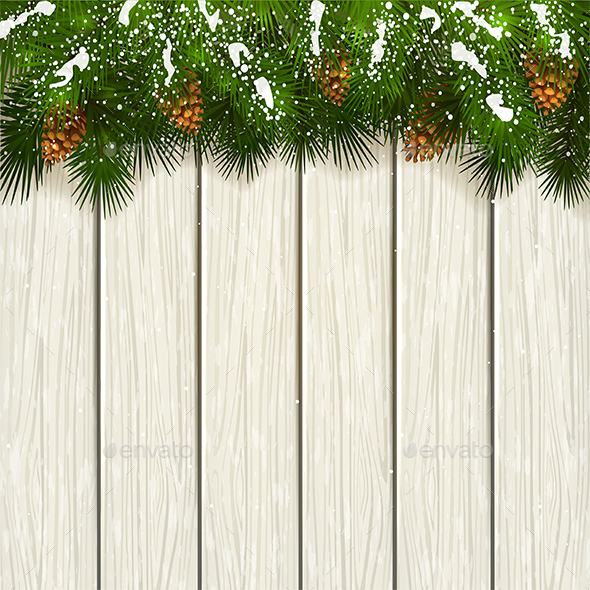 Christmas Fir Tree Branches with Snow and Wooden Background - Christmas Seasons/Holidays