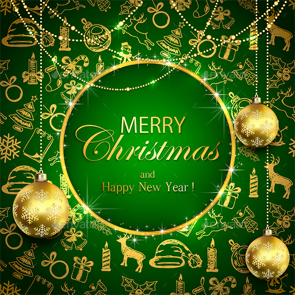 Merry Christmas on Green Background with Golden Decoration and Baubles - Christmas Seasons/Holidays