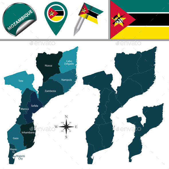 Map of Mozambique with Named Provinces - Travel Conceptual