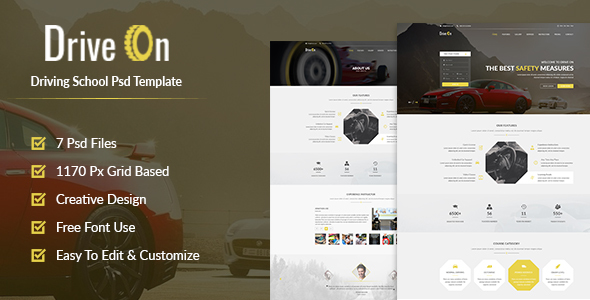 DriveOn – Driving School PSD Template