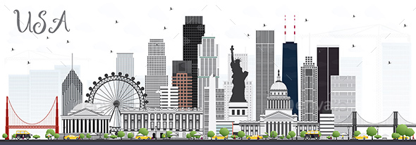 USA Skyline with Gray Skyscrapers and Landmarks - Buildings Objects