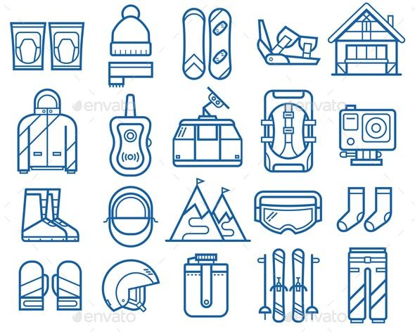 Snowboarding and Skiing Line Icons - Sports/Activity Conceptual