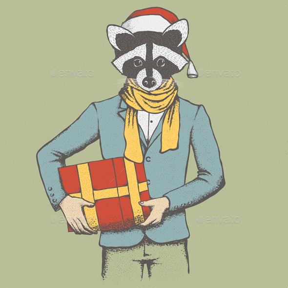 Raccoon Vector Illustration - Christmas Seasons/Holidays