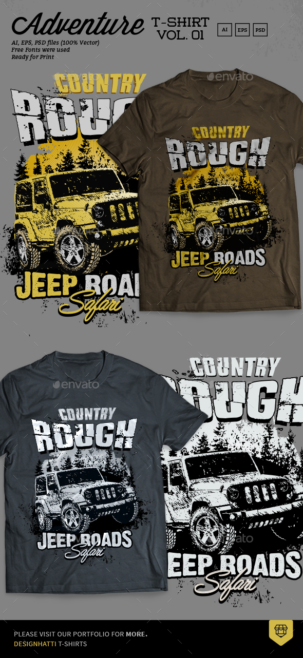 Off Road Adventure T Shirt Design By Designhatti GraphicRiver - Jeep t shirt design