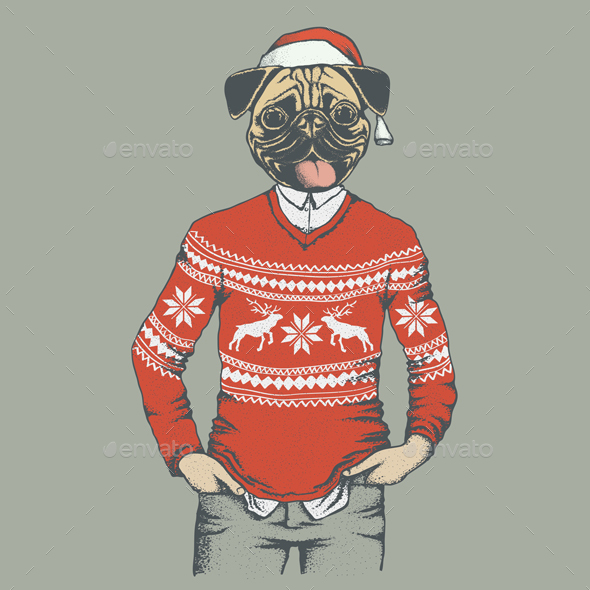 Pug Dog Vector Illustration - Christmas Seasons/Holidays