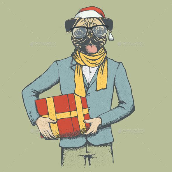 Pug Dog Vector Ilustration - Christmas Seasons/Holidays
