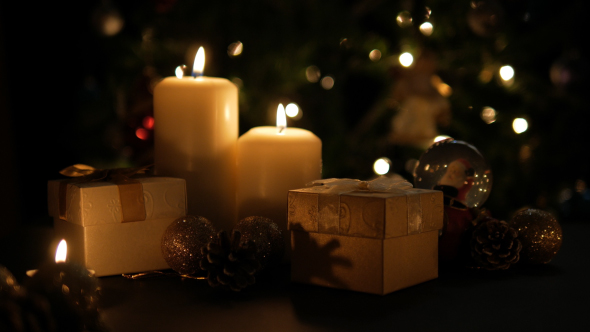 Christmas Gift Box And Candle With Light