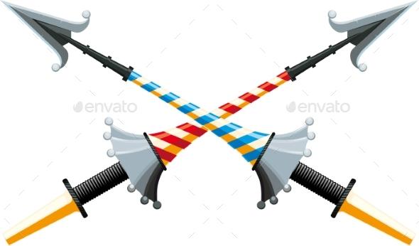 Crossed Spear - Decorative Symbols Decorative