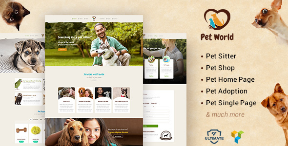 Pet World - Pet Sitter and Pet Shop, Animal Care WordPress Theme
