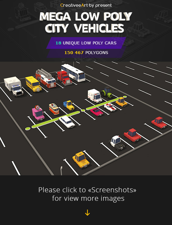 Mega Low Poly City Vehicles Pack - 3DOcean Item for Sale