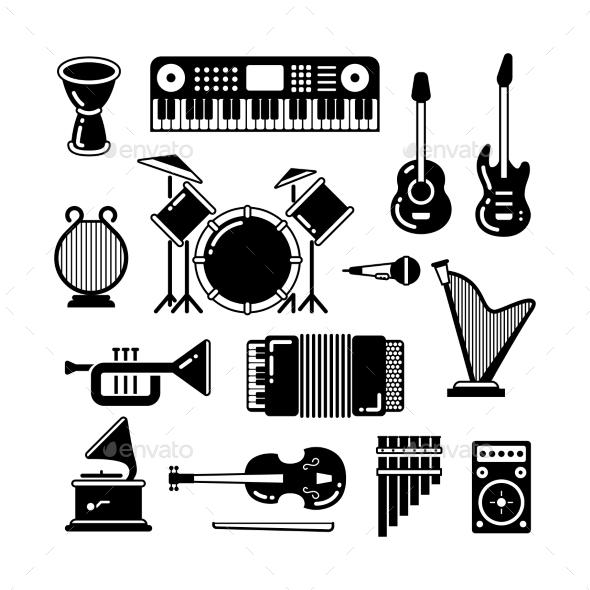 Classic Music Instruments Silhouettes Vector - Man-made Objects Objects