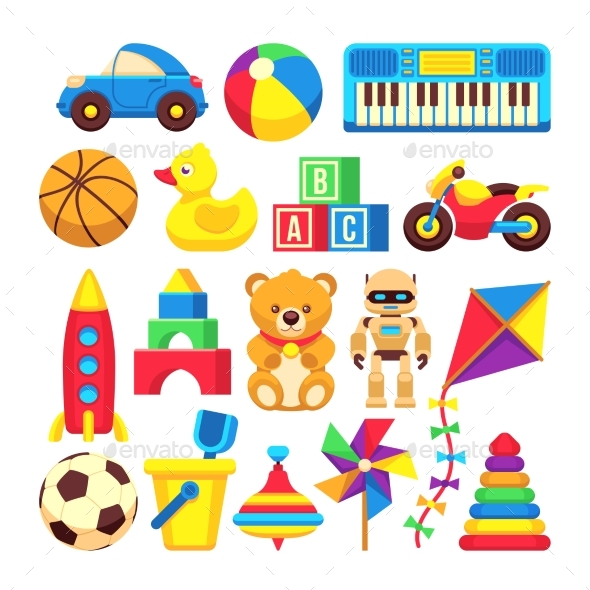 Cartoon Children Toys Vector Icons Isolated - Man-made Objects Objects