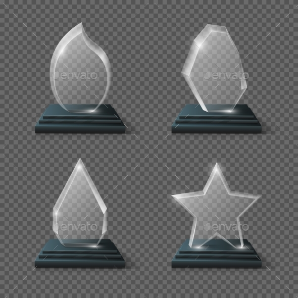 Realistic Crystal Trophy, Glass Awards Vector Set - Objects Vectors
