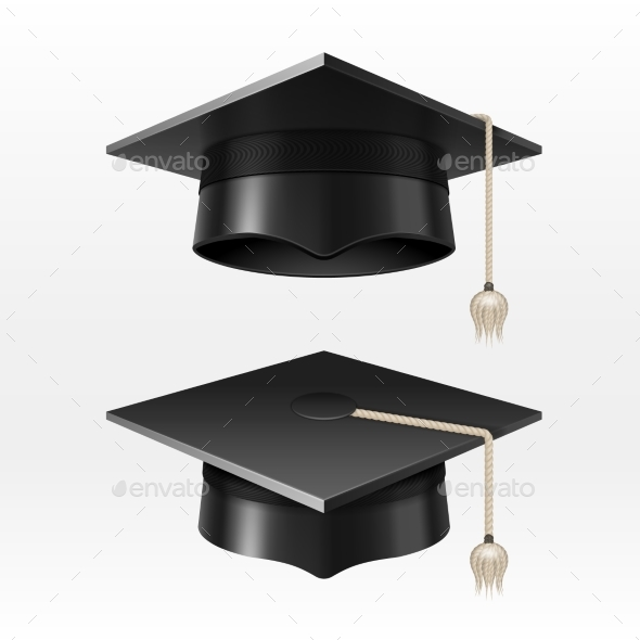 University Academic Graduation Caps With Tassel - Objects Vectors