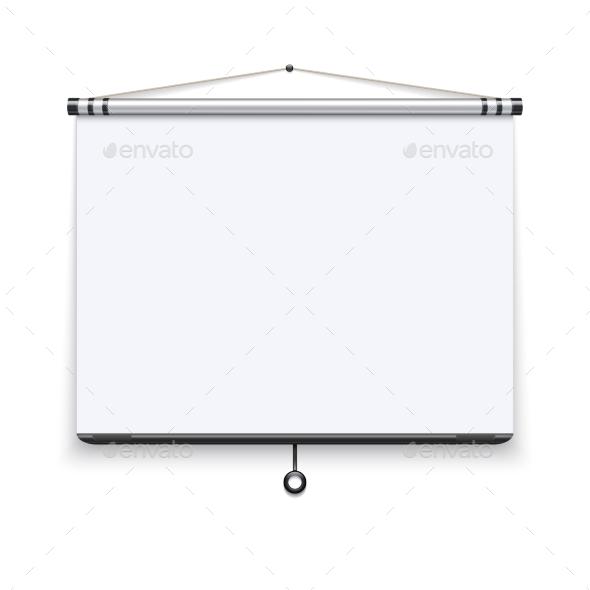 Blank White Board, Meeting Projector Screen - Objects Vectors