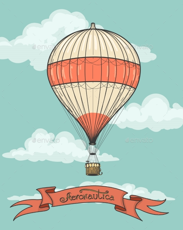 Retro Hot Air Balloon With Ribbon - Travel Conceptual