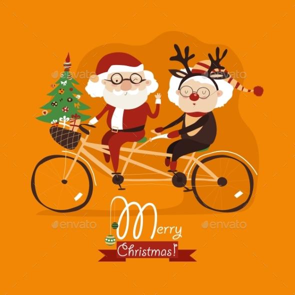 Cool Grandma With Grandpa As Santa Claus - Christmas Seasons/Holidays