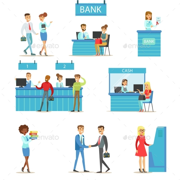 Bank Service Professionals and Clients - People Characters