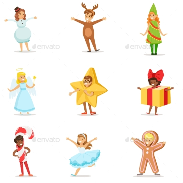 Children Dressed as Winter Holidays Symbols - People Characters