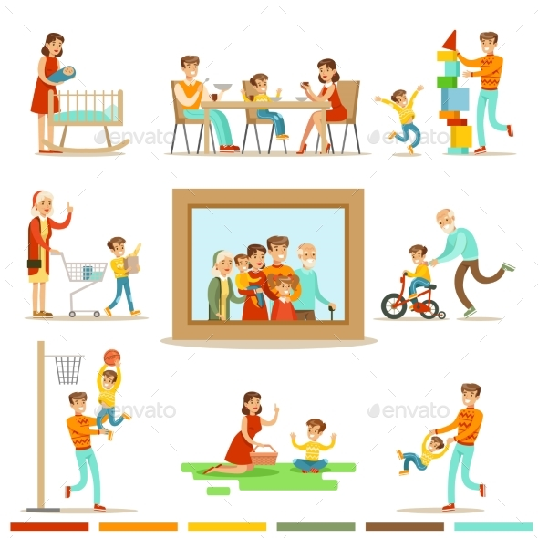 Happy Family Doing Things Together Illustration - Sports/Activity Conceptual