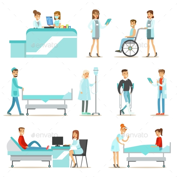 Injured and Sick Patients in The Hospital - People Characters