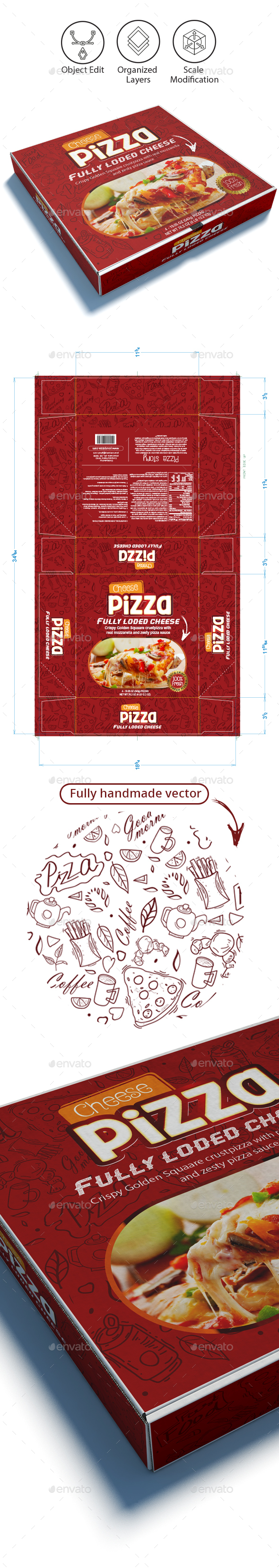 Pizza Box Template - Packaging Print Templates