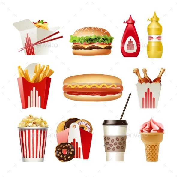 Set Beautiful Cartoon Icons Of Fast Food - Food Objects