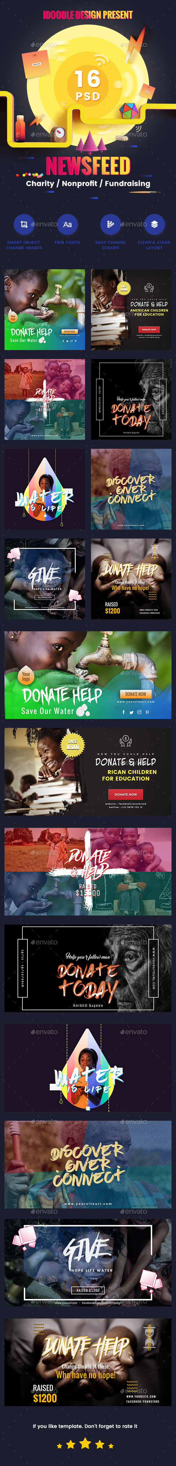 Charity / Nonprofit / Fundraising Newsfeed Ads - 16 PSD [02 Size Each] - Banners & Ads Web Elements