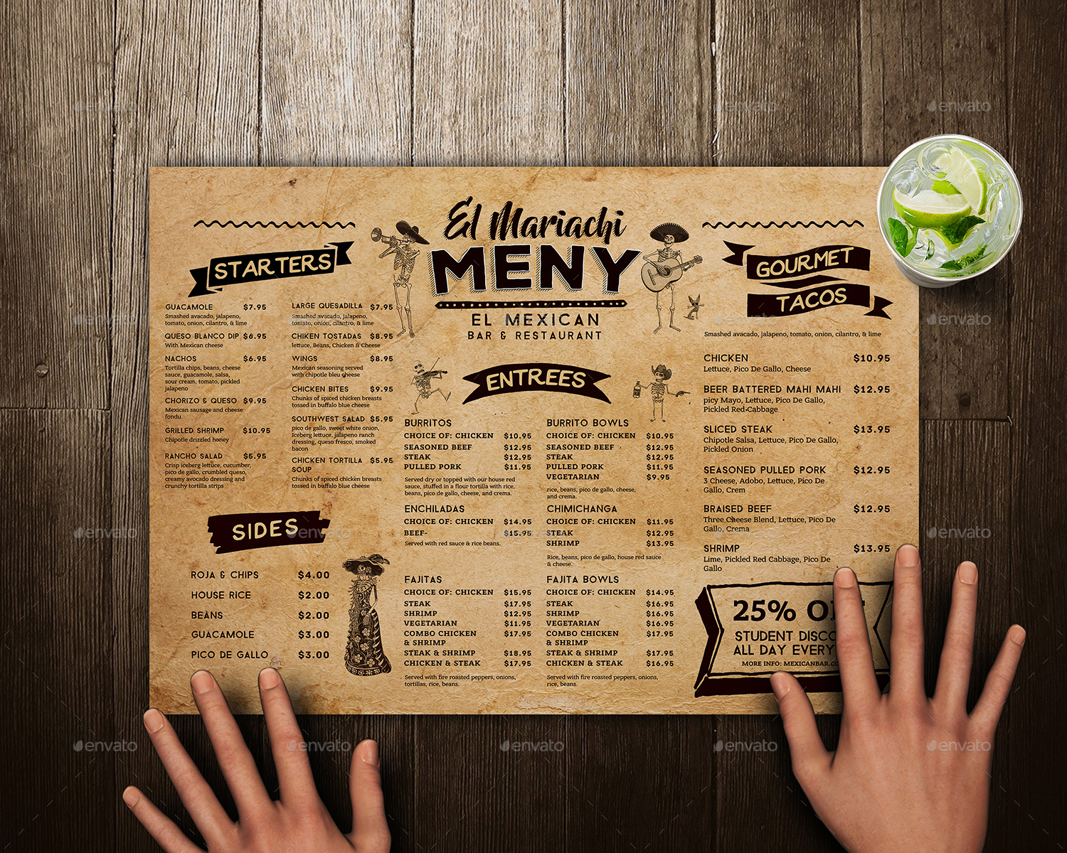 mexican food menu placemat template by vorsa