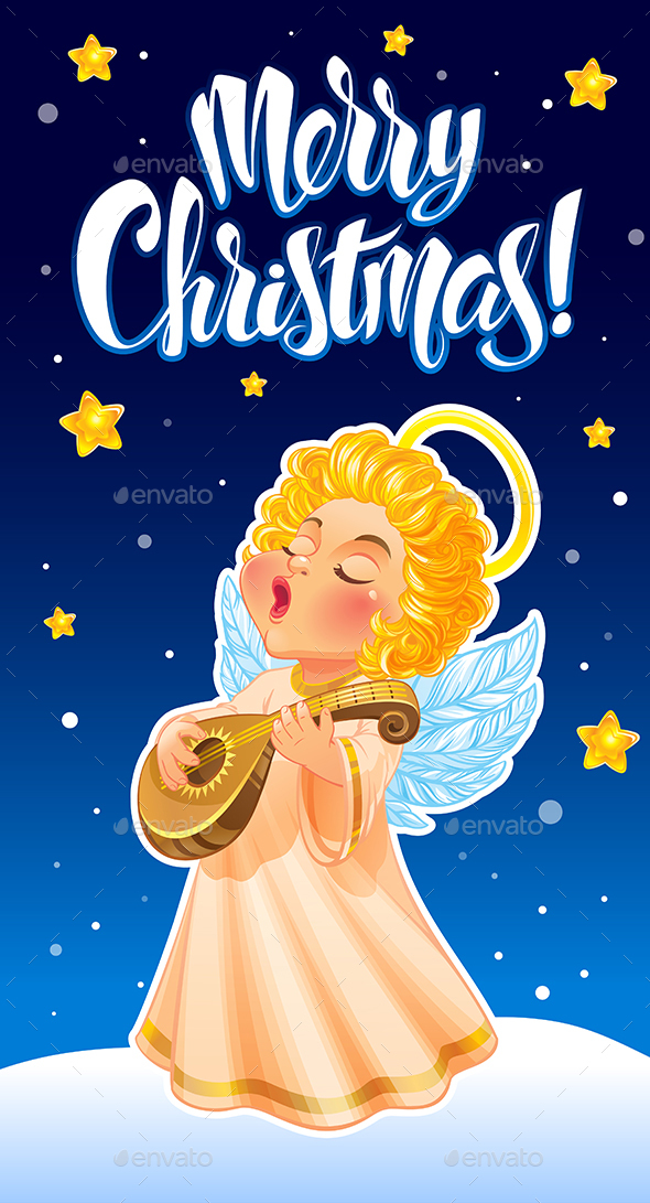 Christmas Greeting Card with Angel - Christmas Seasons/Holidays