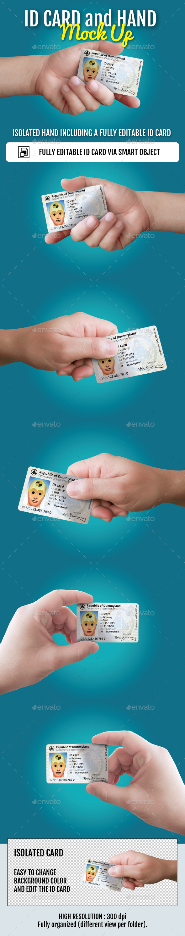 ID Card and Hand Mockup - Miscellaneous Print