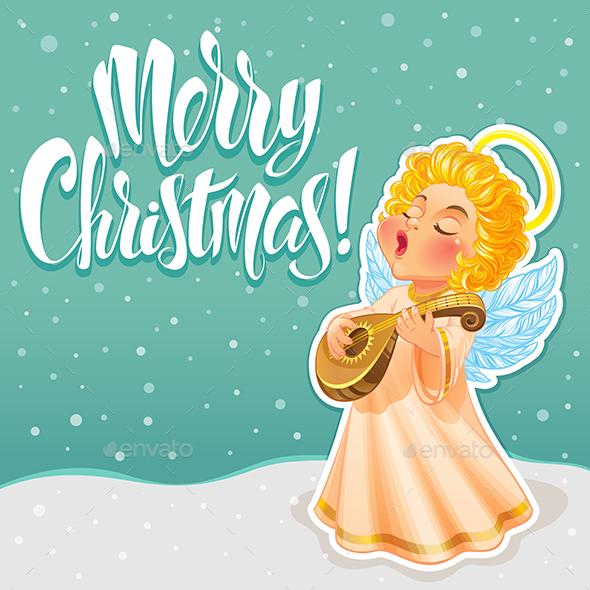 Christmas Greeting Card with Angel - Christmas Seasons/Holidays