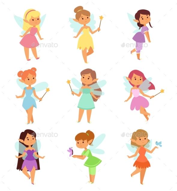 Fairies Cartoon Characters Vector Set. - Flowers & Plants Nature