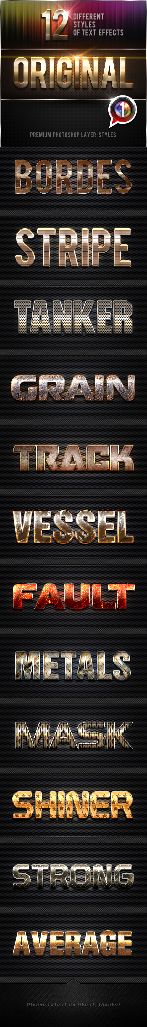 12 Original Photoshop Text Effects Vol.1 - Text Effects Styles