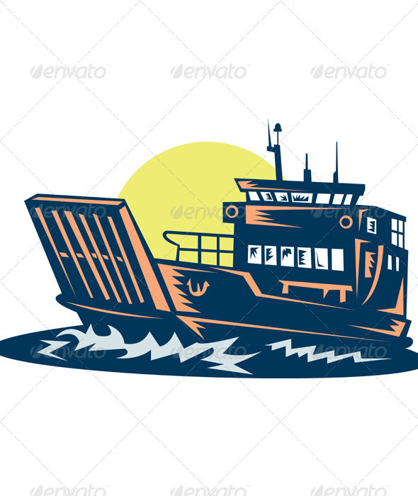 Barge Boat Shipping Line Woodcut - Travel Conceptual