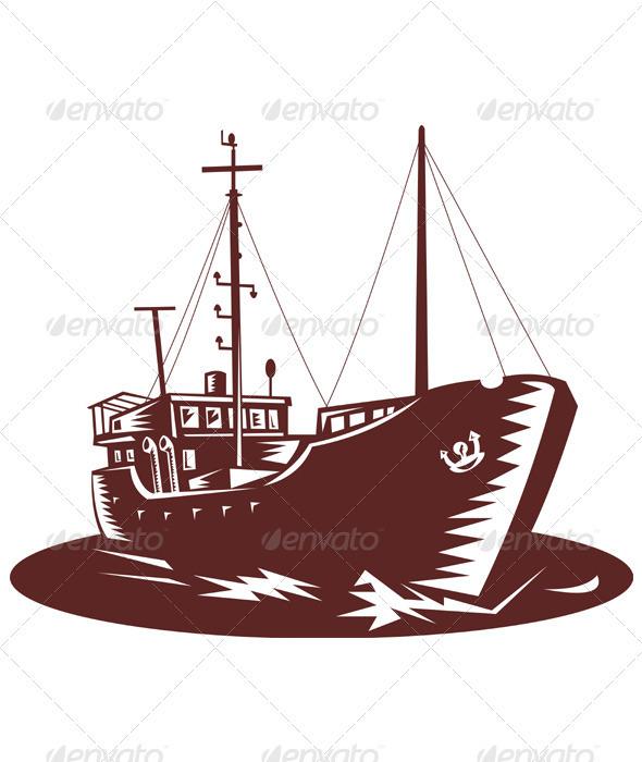 Coastal Trader Boat Ship Woodcut - Objects Vectors