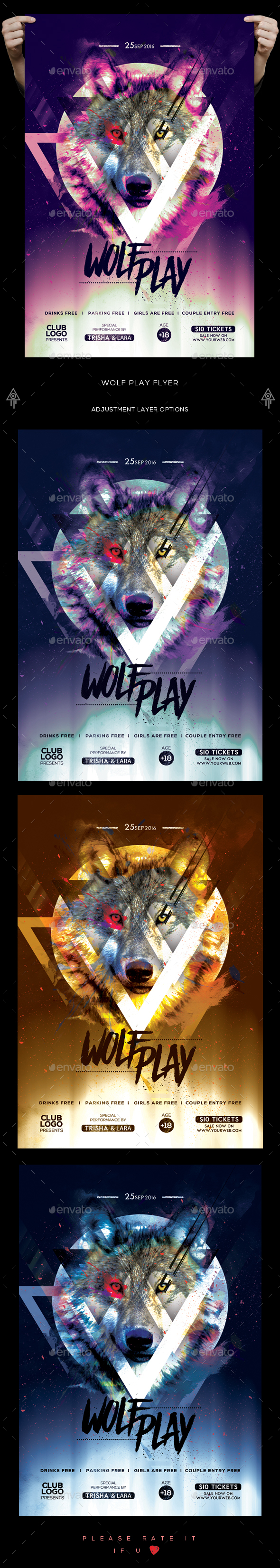 Wolf Play Party Flyer - Clubs & Parties Events