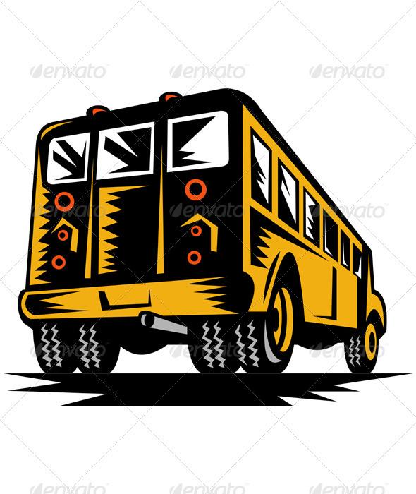 Yellow School Bus Rear Veiw - Objects Vectors