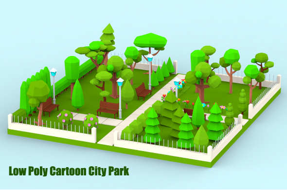 Low Poly Cartoon City Park - 3DOcean Item for Sale
