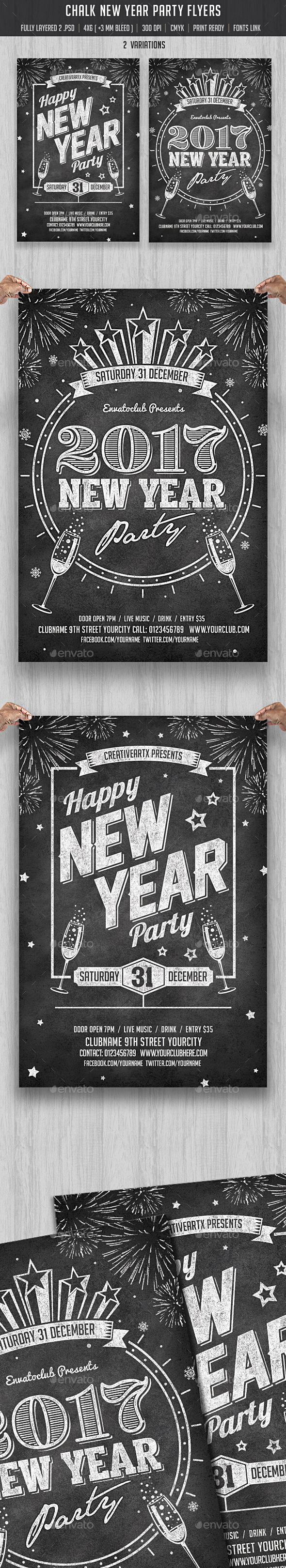 Chalk New Year Party Flyer - Clubs & Parties Events