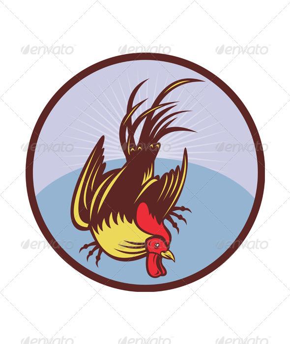 Rooster Cockerel Woodcut - Characters Vectors