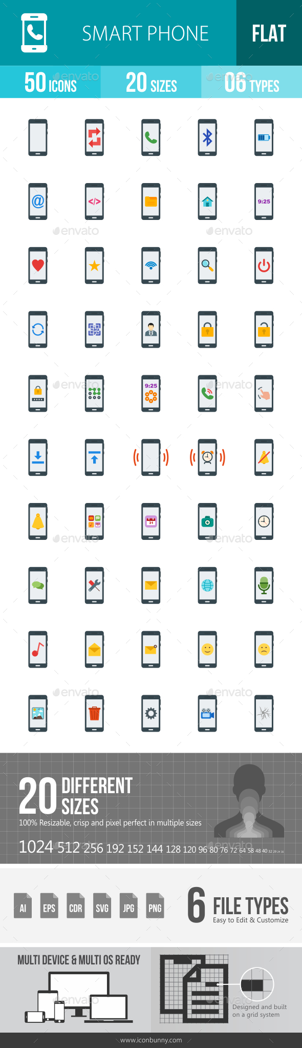 Smartphone Flat Multicolor Icons - Icons