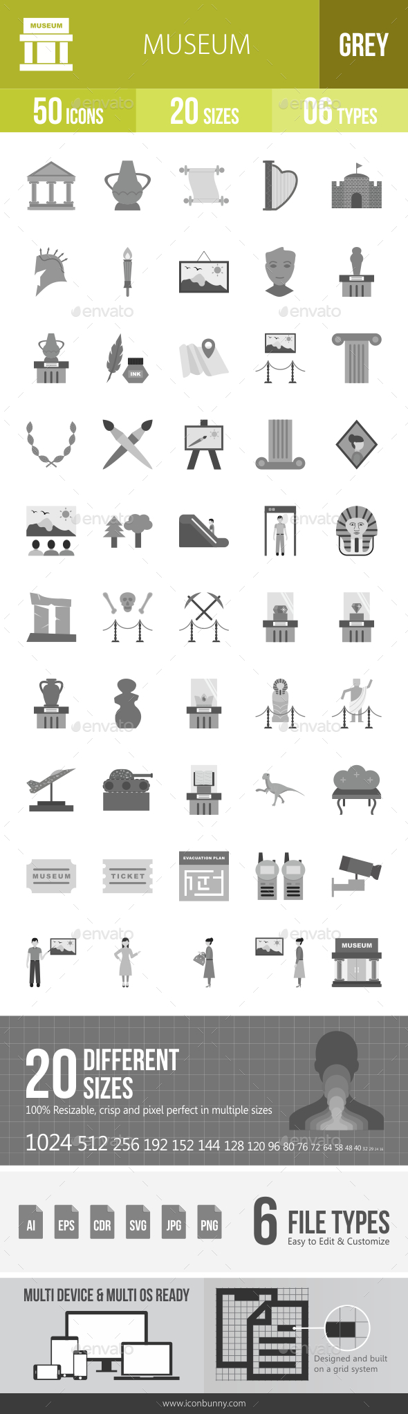 Museum Greyscale Icons - Icons