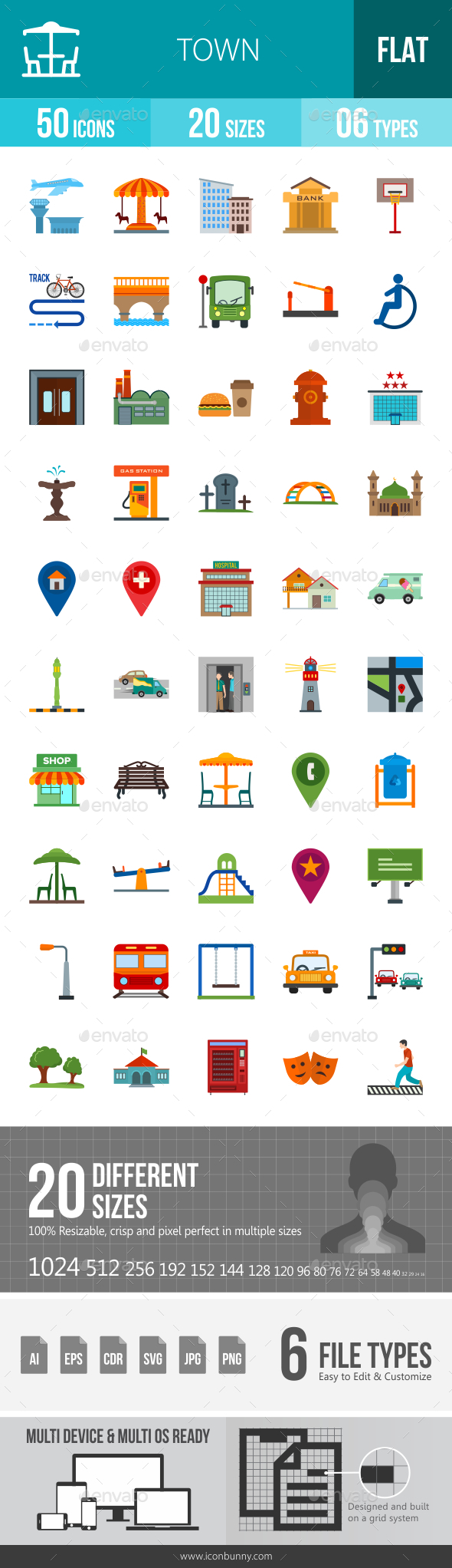 Town Flat Multicolor Icons - Icons