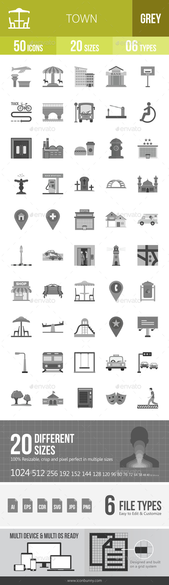 Town Greyscale Icons - Icons