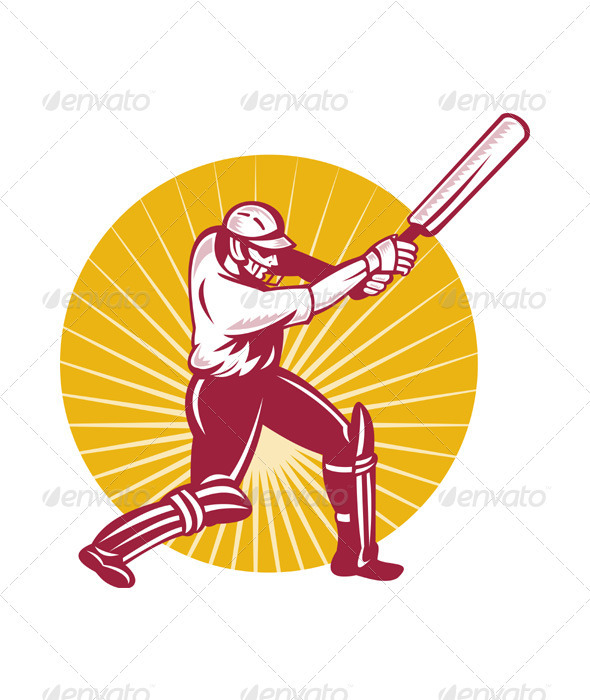 Cricket Player Batsman Batting Retro Style - People Characters
